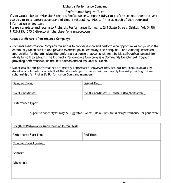 Richards Performance Company – Donation Request Form